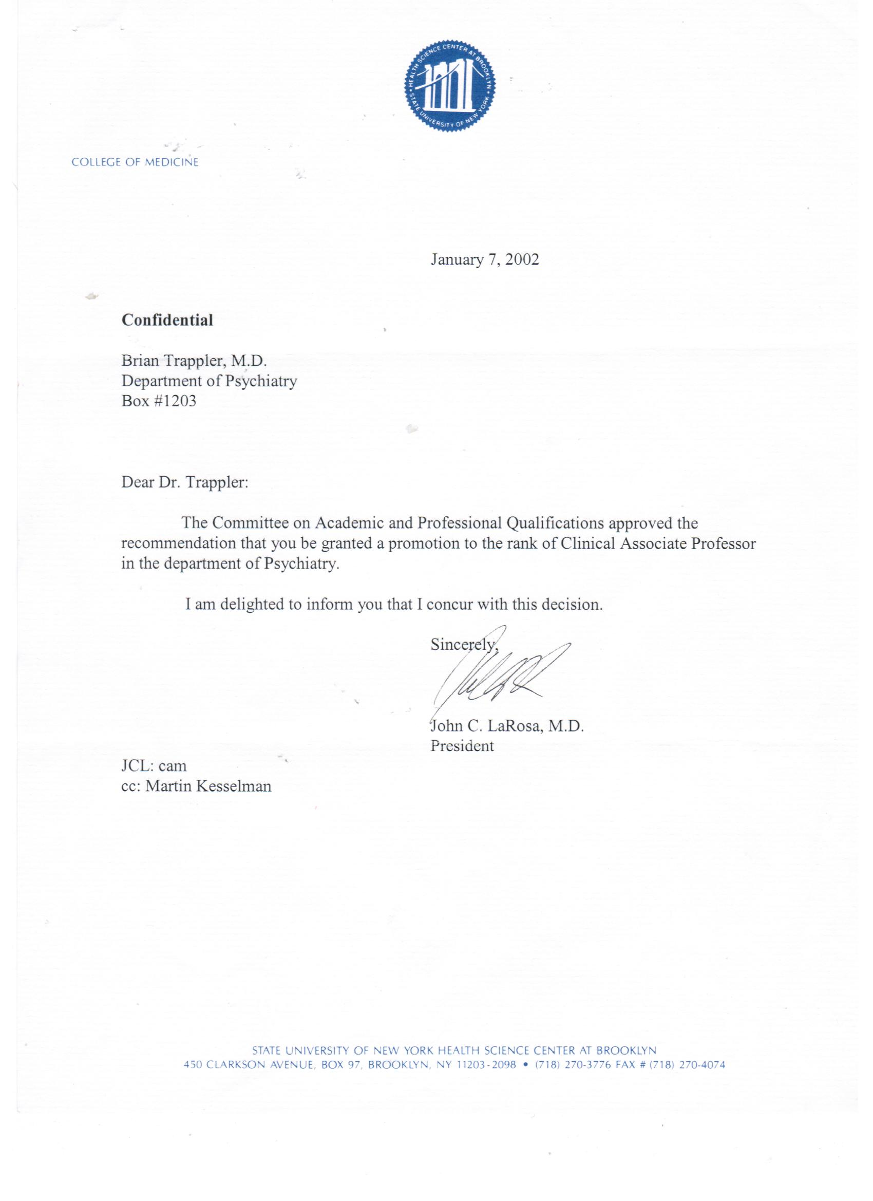 Letters Of Endorsement  Briantrappler MD  General Psychiatry
